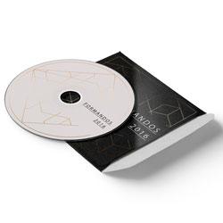 Envelope CD e DVD Colado - 500 unidades - 125x125mm em Couché Brilho 250g - 4x0 - Verniz Total Brilho Frente - Faca Padrão (cód. 11058)