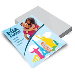 Folheto - 500 unidades - 148x200mm em Couché Brilho 150g - 4x0 - Verniz Total Brilho Frente e Verso -  (cód. 25279)