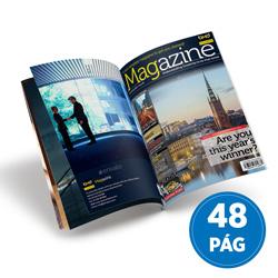 Revista 48 Páginas - 500 unidades - 148x210mm em Couché Brilho 150g - 4x4 - Sem Cobertura - Grampo Canoa (cód. 18010)
