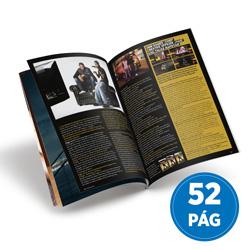 Revista 52 Páginas - 500 unidades - 148x210mm em Couché Brilho 150g - 4x4 - Sem Cobertura - Grampo Canoa (cód. 18020)