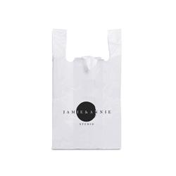 Sacola Plástica Personalizada Branco Impressão em Preto - 500 unidades - 400x300mm em Polietileno PEAD 0,05 mm  - 1x0 - Sem Cobertura - Impressão em Preto - Alça Camiseta (cód. 24632)