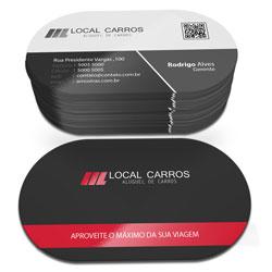 Cartão de Visita - 5.000 unidades - 47x85mm em Couché Fosco 300g - 4x1 - Laminação Fosca e Verniz Localizado F/V - Super 4 Cantos Arredondados (cód. 4838)