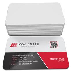 Cartões de Visita - 48x88mm em Couché Fosco 300g - 4x0 - Laminação Fosca e Verniz Localizado F/V - 4 Cantos Arredondados