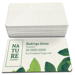 Cartão de Visita - 5.000 unidades - 48x88mm em Reciclato 240g - 4x0 - Sem Cobertura - 2 Cantos Arredondados (cód. 3128)