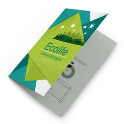 Folders - 5.000 unidades - 297x420mm em Couché Brilho 150g - 4x4 - Sem Cobertura - Dobra Central (cód. 11435)