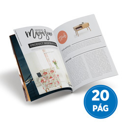 Revista 20 Páginas - 5.000 unidades - 148x200mm em Couché Brilho 115g - 4x4 - Sem Cobertura - Grampo Canoa (cód. 17583)