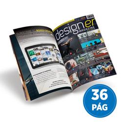 Revistas 36 Páginas - 5.000 unidades - 100x140mm em Couché Brilho 90g - 4x4 - Sem Enobrecimento - Grampo Canoa (cód. 10785)