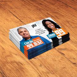 Cartão de Visita Eleições   - 50.000 unidades - 48x88mm em Couché Brilho 250g - 4x0 - Verniz Total Brilho Frente -  (cód. 13381)