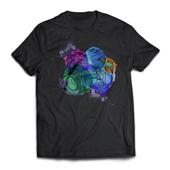 Camiseta T-Shirt Preta  - 7 unidades - 655x520mm em Algodão 100g - 4x0 - Estampa A4 Fosca - Meio-Corte Personalizado (cód. 15817)