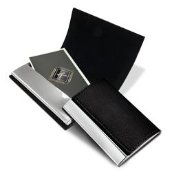 Porta Cartões de Visita Elegance - 5 unidades - 65x95mm em Couro e Alumínio  - Sem impressão - Sem Cobertura - Modelo Padrão (cód. 20056)