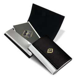 Porta Cartão de Visita Elegance - 1 unidade - 65x95mm em Couro e Alumínio  - 4x0 - Sem Cobertura -  (cód. 20065)