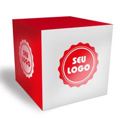 Cubo Promocional - 50 unidades - 100x100mm em Couché Brilho 300g - 4x0 - Verniz Total Brilho Frente - Faca Padrão (cód. 21082)