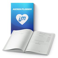 Agenda Planner 96 páginas - 1 unidade - 210x140mm em Pólen Soft 80g - 1x1 - Laminação Fosca Frente - Cantos Arredondados - Lombada Quadrada - Elástico e Ilhós Preto (cód. 27993)